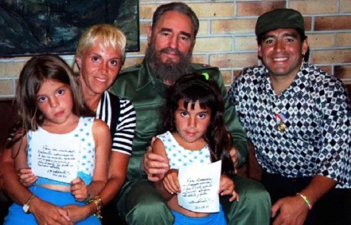 Maradona poses in 1994 with his then-wife Claudia, his two daughters and Cuban President Fidel Castro.