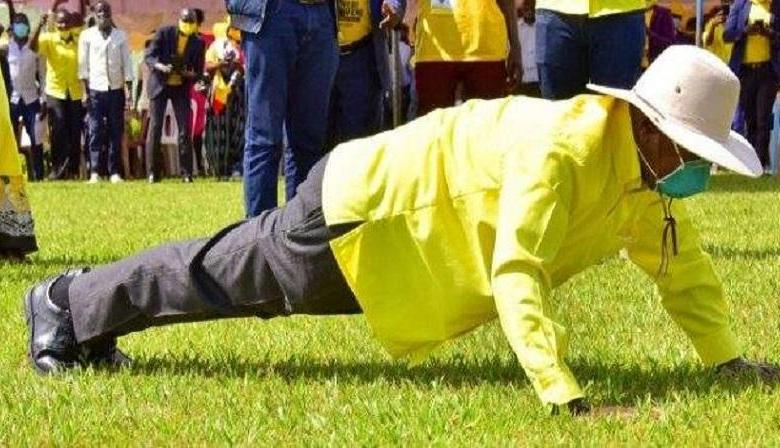 Reasons President Museveni is publicly doing push-ups