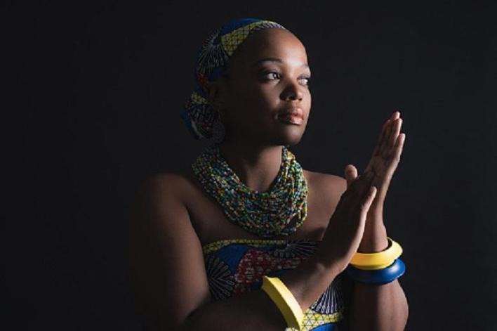 South african xhosa woman wearing colorful necklace and bracelets.
