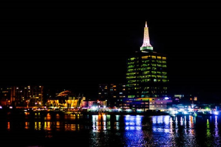 Lagos, Nigeria by night.