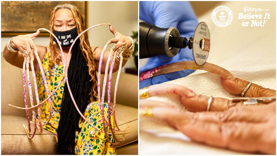 World longest fingernails cut her nails with a grinding disc: 'washing no longer possible'
