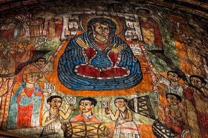 An ethiopian church and cloister found near Gorgora on the way from Bahir Dar to Gondar, Ethiopia.