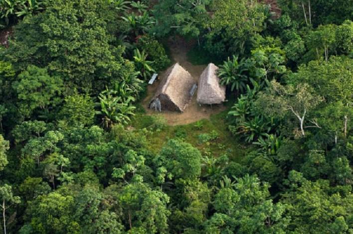 Huaorani Houses seen from the air