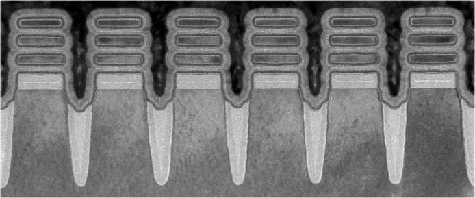IBM's 2-nanometer transistors viewed through a microscope.