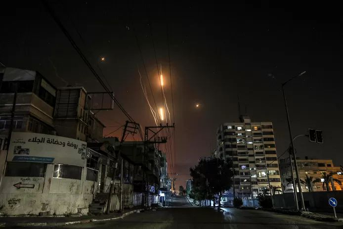 Missiles are fired from Gaza City to Israel