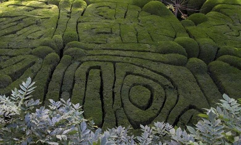 Encrypted message in medieval hieroglyphic puzzle of garden of ancient Galicia