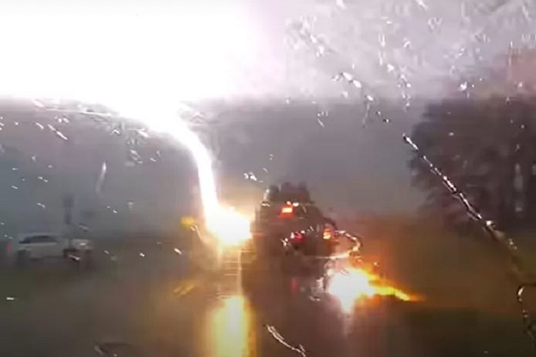 Flat tires and broil electronics: Jeep struck by lightning 4 times