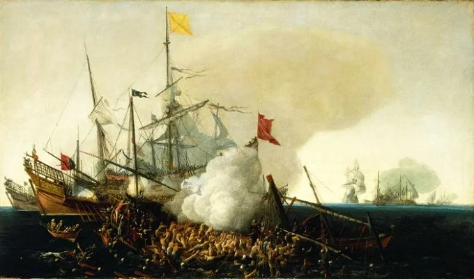 Spanish ships fight the Barbary corsairs