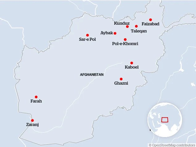 The ten provinces captured by Taliban