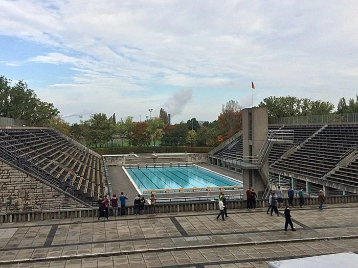 Swimming pool at the Berlin stadium, 2015.