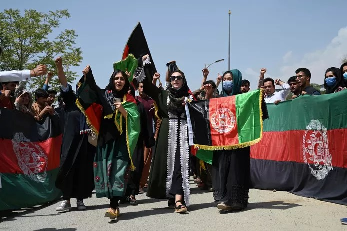 Protest in Kabul yesterday, led by some women.