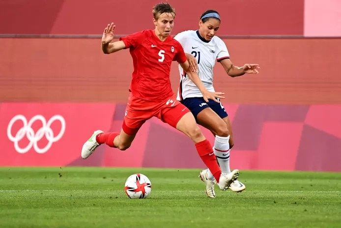 Quinn in action during the surprisingly won semifinal against the United States.