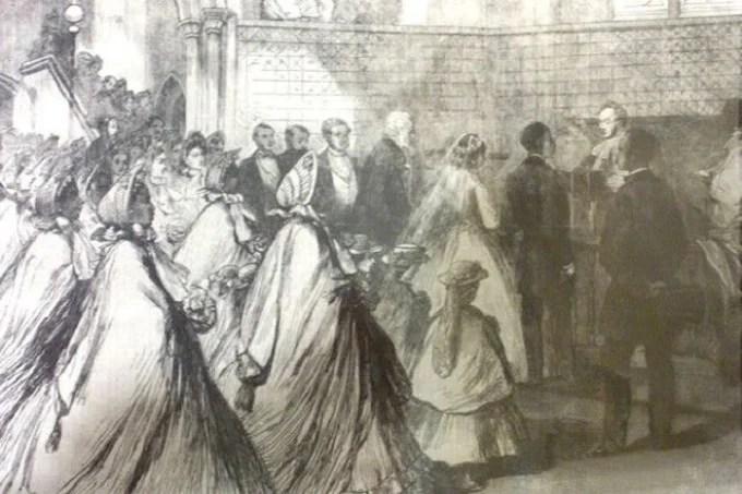 The wedding of Sarah Forbes Bonetta and James Davis, old newspaper drawing.