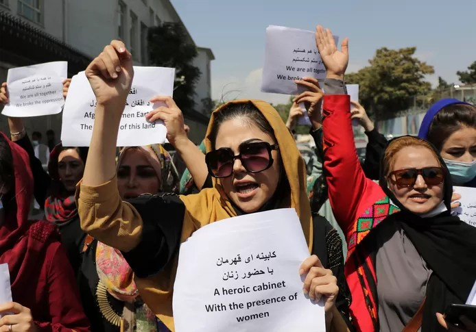 Women protest for women's rights under the Taliban in Kabul.