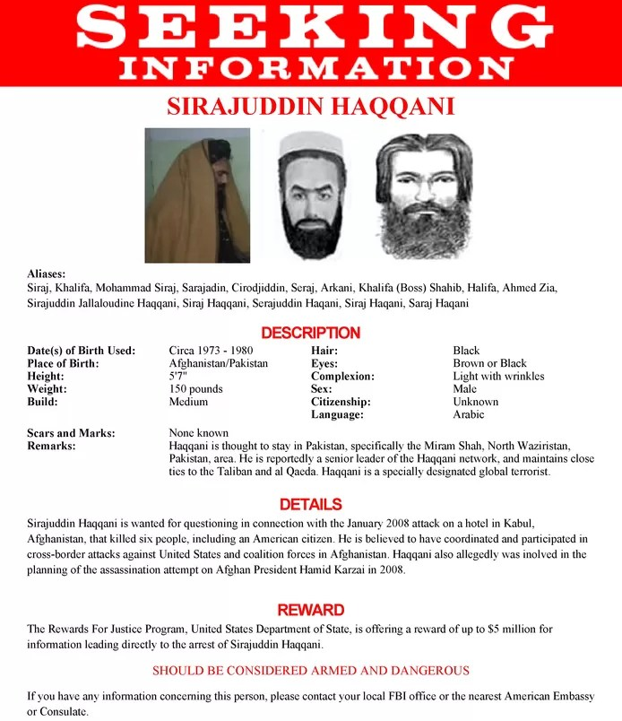 The new Afghan interior secretary is on the FBI's Most Wanted list.