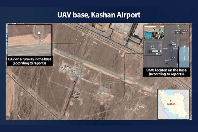 An alleged satellite photograph of the Iranian base that Defense Minister, Benny Gantz, says is used to advanced drones, September 12, 2021.