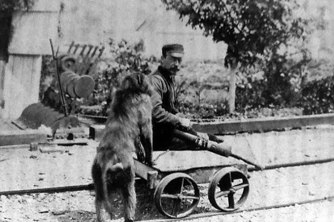 James Edwin Wide with his baboon Jack, in 1879