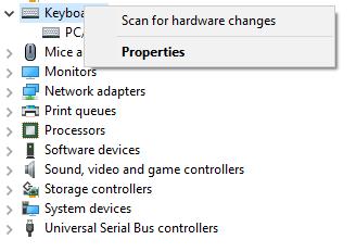 keyboard error windows 10