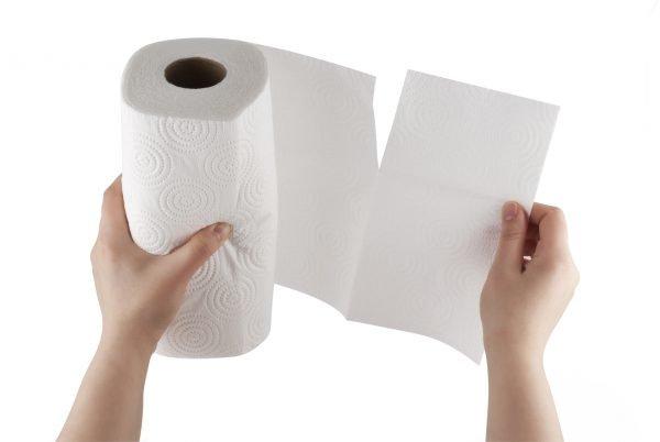 소녀는 종이 타월을 찢어 버린다