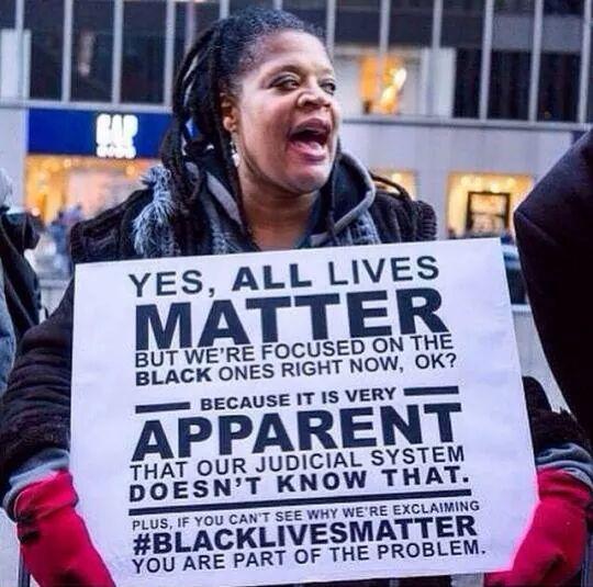 """""""Sí, todas las vidas importan, pero ahora mismo estamos implicados en los derechos de las personas negras ¿ok? Porque aparentemente el sistema judicial no lo está. Además, si no puedes entender el porqué de nuestras quejas, es que eres parte del problema"""""""