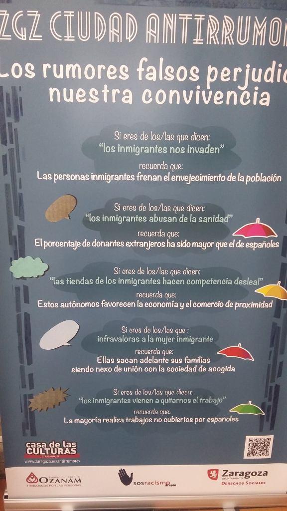 Cartel campaña antirrumores de Zaragoza