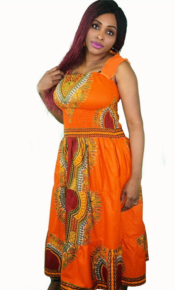 Orange dashiki print midi dress