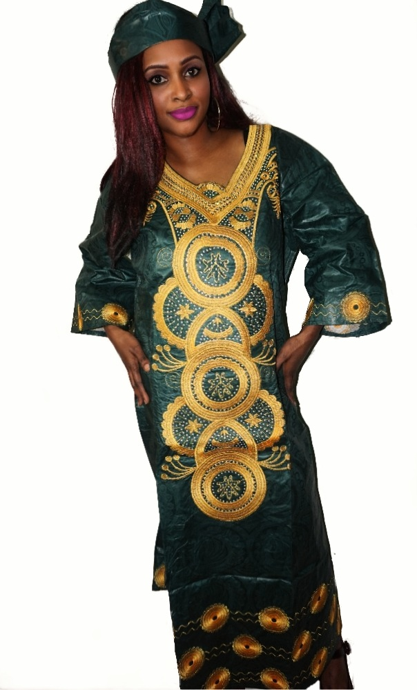 Green bazin gold embroidered kaftan dress