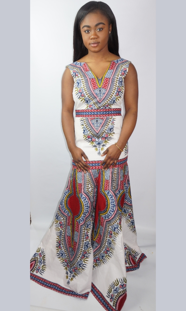 White Angelina dashiki print gown