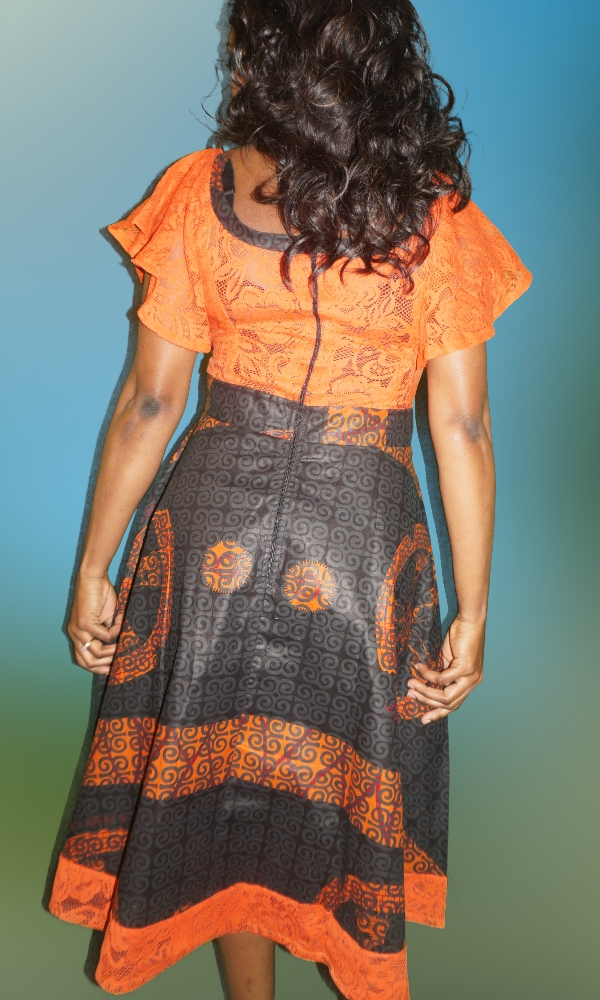 Black and orange lace combi dress