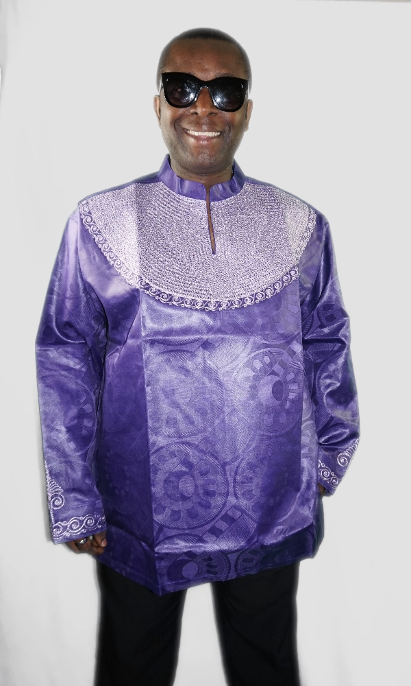 Purple African style top with embroidery