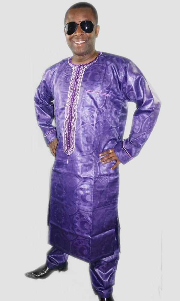 Long embroidered kaftan and trouser set