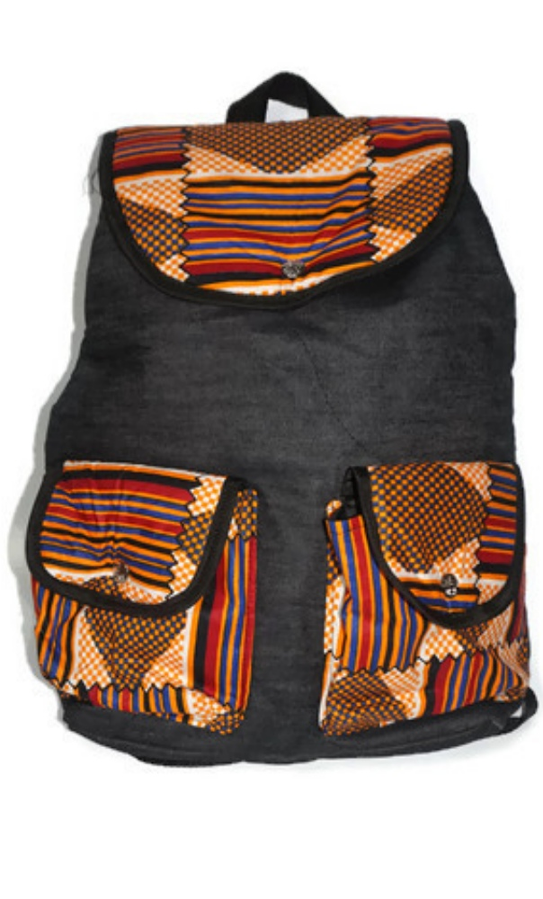 Denim and African print backpack