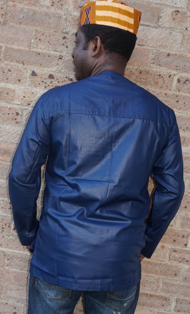 Navy blue embossed embroidered shirt