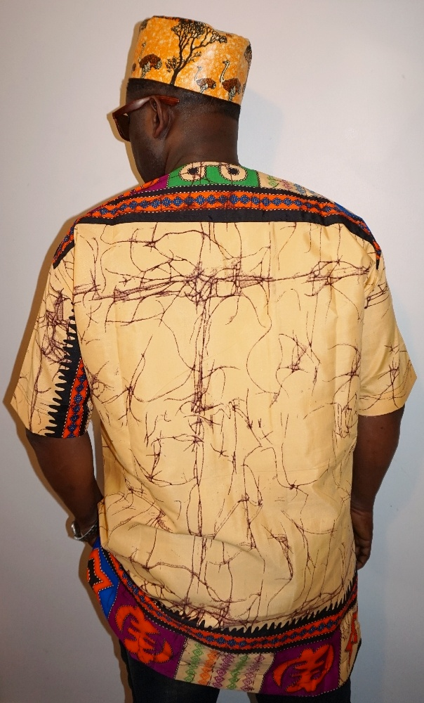 Brown African symbols print short sleeved shirt