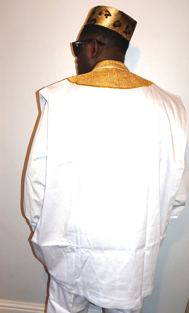 White Agbada illusion top piece only with embroidery