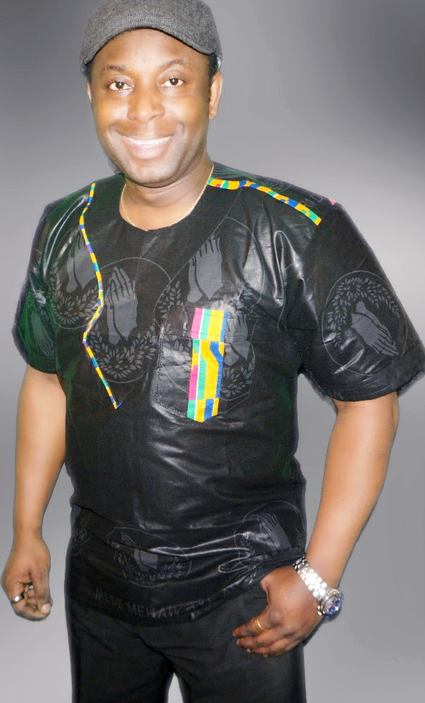 Black  and kente combination African style shirt