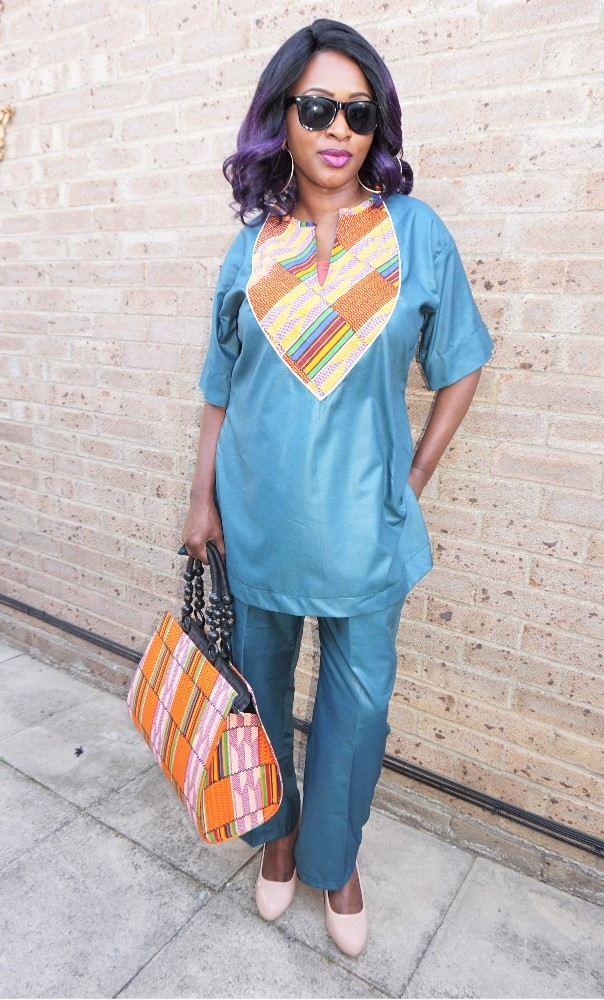Teal 2 piece trouser and top kente combi set