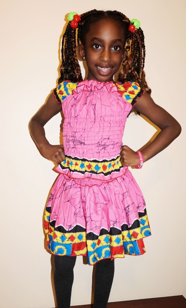 Pinky multi African print girls ruffled shirred top and skirt set