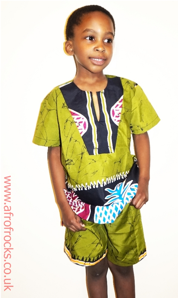 Boys pineapple African print shorts set