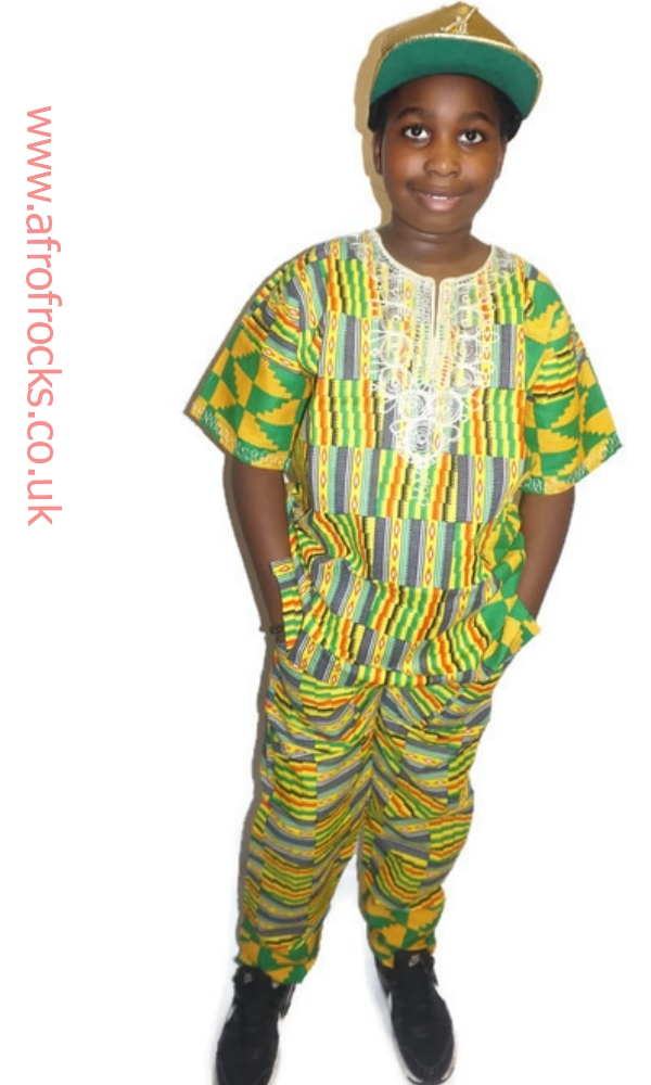 Kente print embroidered shirt