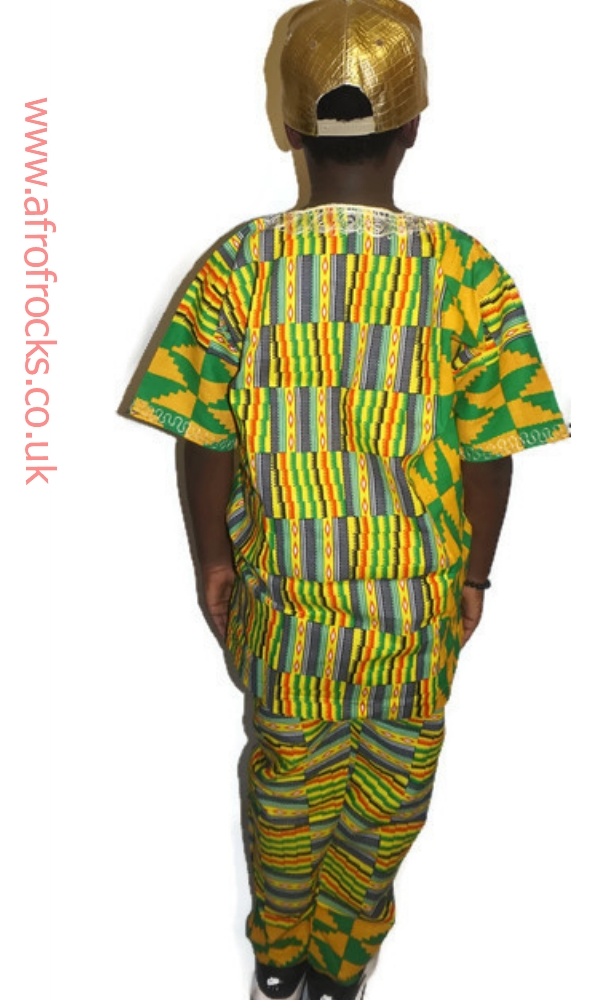 Kente embroidered 2 piece trouser set