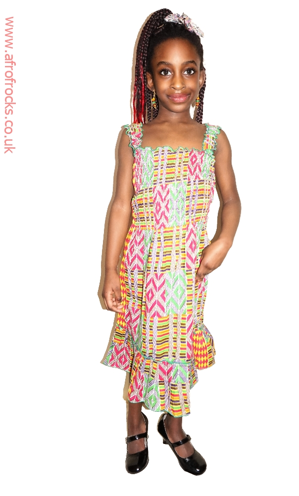 Multi print shirred dress