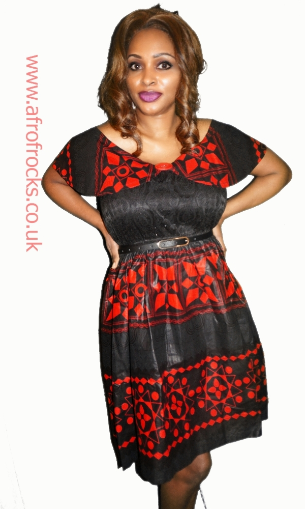 Black and red lace combi African print dress