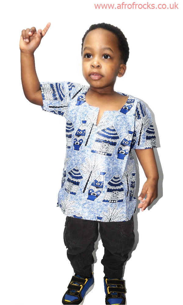 Unisex African village scene top for kids