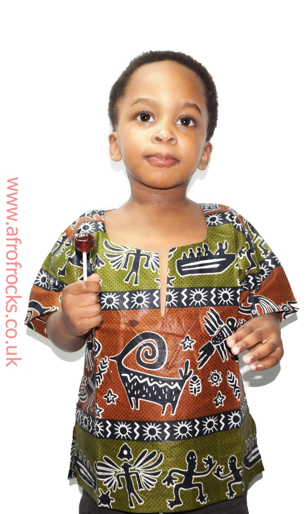 Village people African print kids top