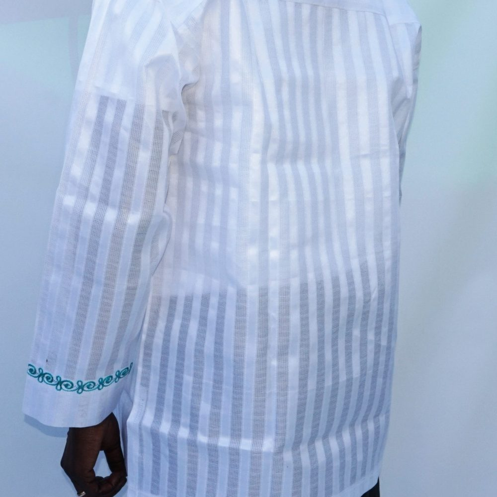 White and green embroidered long sleeved shirt