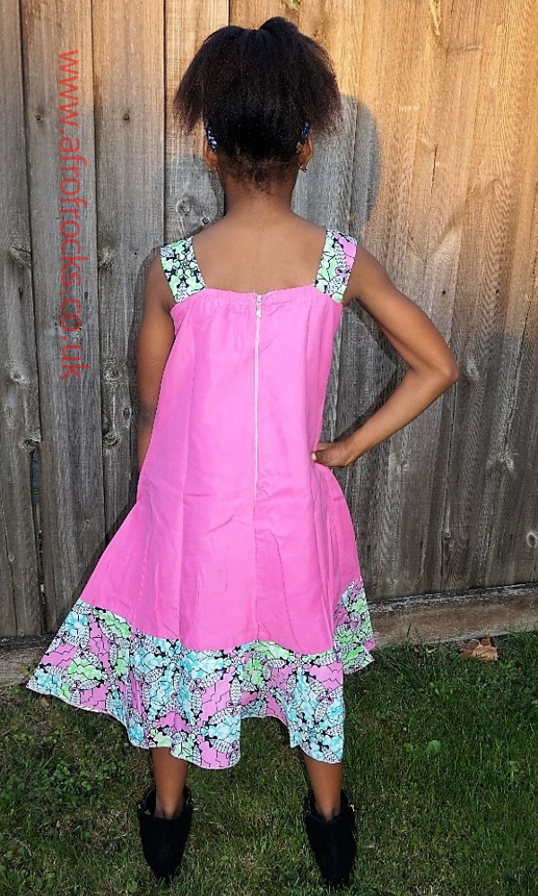 Pink and African print combi A-line dress