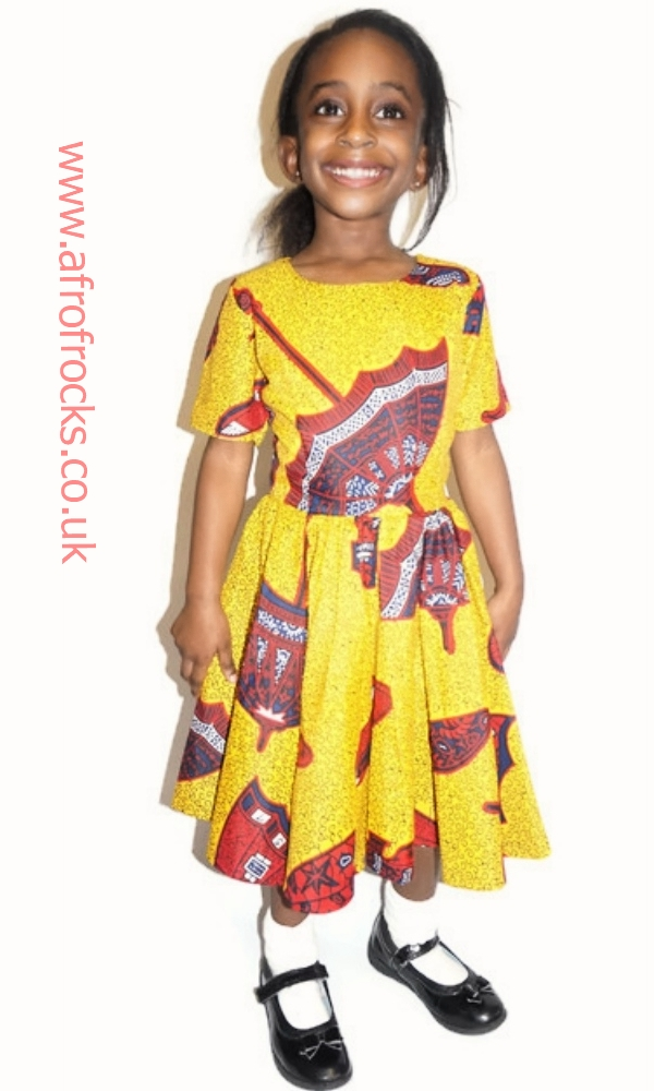 Umbrella African print dress for girls