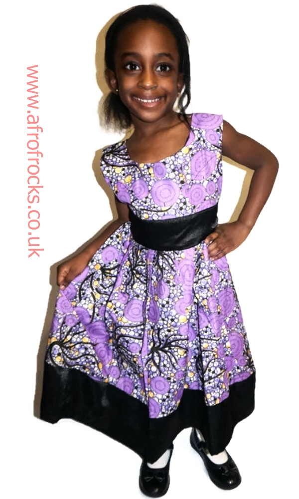 Black satin and purple African print combi girls dress