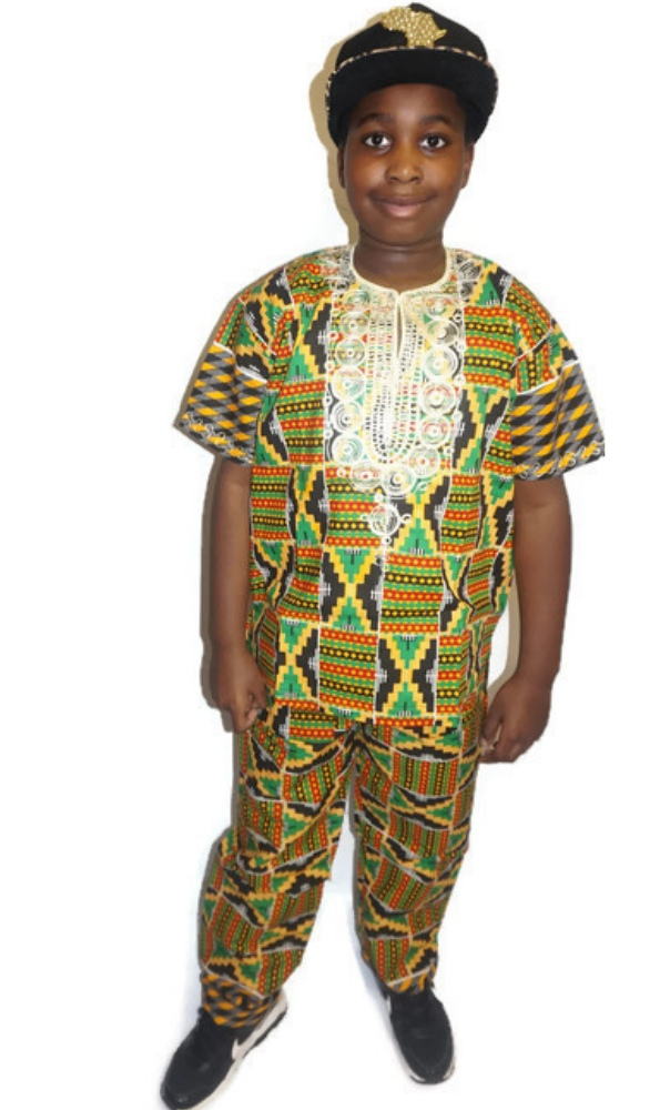 African kente print trouser and top set